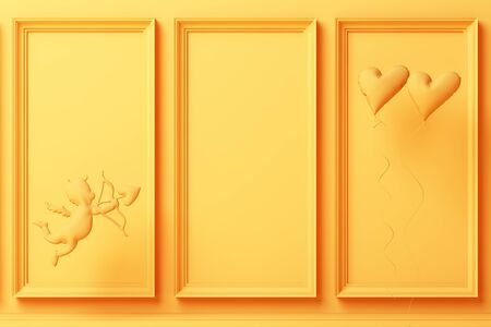 Valentines day concept yellow decorate wall background with yellow cupid 3d rendering