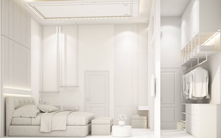 modern white bedroom with furniture in townhouse 3d rendering