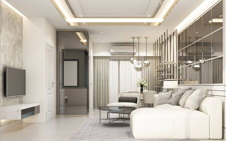 modern white living area with furniture in townhouse 3d rendering