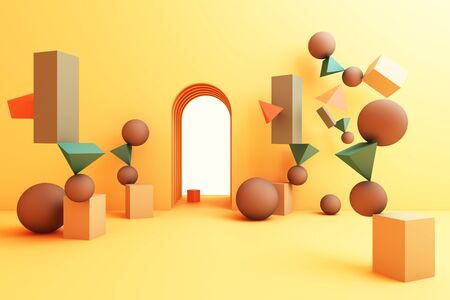minimal abstract background abstract geometric shape group set yellow color 3d rendering