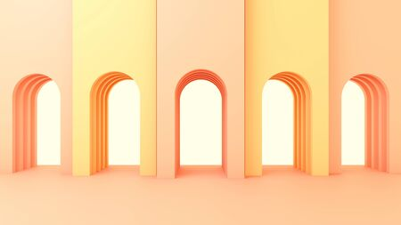 3d render illustration in modern geometric style Arch and stairs in trendy minimal interior Gradient pastel colors background Abstract composition 版權商用圖片