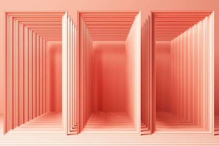 3d render minimal fashion background arch tunnel corridor portal perspective pink mint pastel colors 版權商用圖片