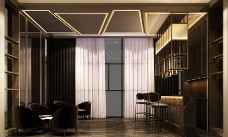3D rendering of a luxury night lounge bar in a purple light Stockfoto