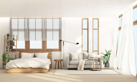 Bedroom and living area in modern contemporary style interior design with wooden window frame and sheer 3d rendering