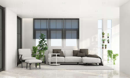 Living area in modern contemporary style interior design with wooden window frame and sheer with grey furniture tone