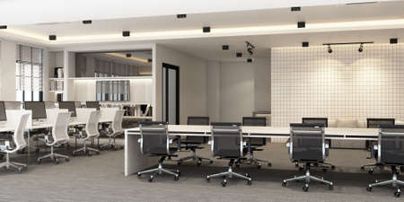 Working area in modern office with carpet floor and meeting room. interior 3d rendering