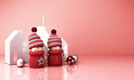 christmas greeting card template with boy and girl dolls with house paper box on pink background 3d rendering