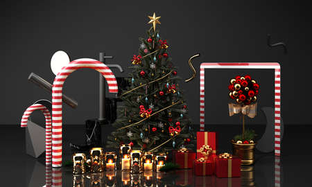 christmas greeting card template with Christmas tree and candy giftbox candle surounding by geometric shape gold and black texture 3d rendering 免版税图像