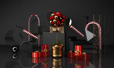 christmas greeting card template with Christmas tree and candy giftbox surounding by geometric shape gold and black texture 3d rendering