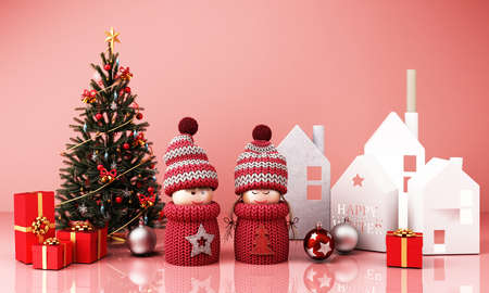 christmas greeting card template with boy and girl dolls with house paper box and christmas tree red giftbox on pink background 3d rendering 免版税图像