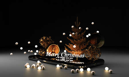 Beautiful christmas golden silver deco baubles on dark black background. with christmas tree and decoration giftbox and 