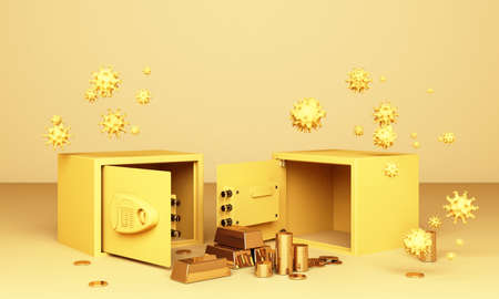 Realistic 3D render illustration of an open safe box with gold bars and coin surrounding by a lot of corona virus covid-19 in yellow tone 免版税图像