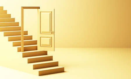 Yellow door Is open On the steps that are white way up And a light shines down Like a way to success 3d rendering