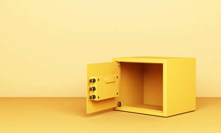 Realistic 3D render illustration of an open safe box on yellow tone