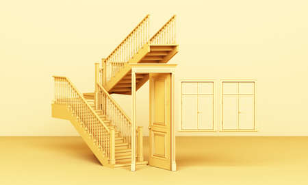 The yellow classic styled door is open and the stairs with windows are on a yellow background 3d rendering