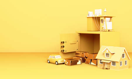 Thinking about home, car and work with an open safe box and gold bar in yellow pastel colour the concept of life 3D rendering