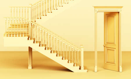 The yellow classic styled door is open and the stairs are on a yellow background 3d rendering 免版税图像