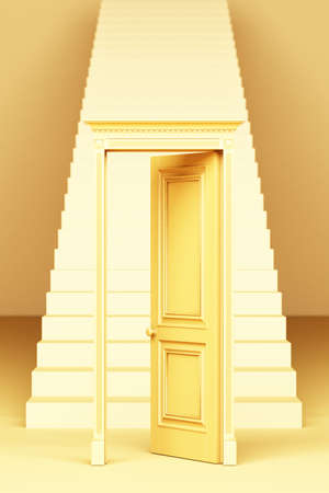 Classic style door Open in front of the stairs, walkway straight up 3d rendering 免版税图像