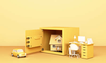 Thinking about home, car and work with an open safe box in yellow pastel colour the concept of life 3D rendering