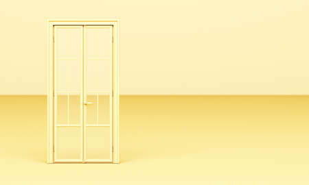 The yellow classic style door is open on a yellow background 3d rendering. 免版税图像