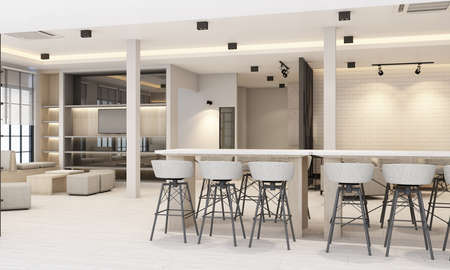 Work and rest areas With bookcase And conference table in white tone office and wooden floor 3d rendering
