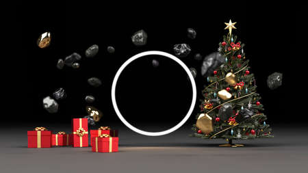 Christmas tree surrounded by old TVs with glowing screens Spin around yourself With a red gift box 3d rendering