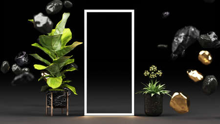 Various green leaves in marble pots And a geometric shape with a glowing LED light On a black background 3d rendering