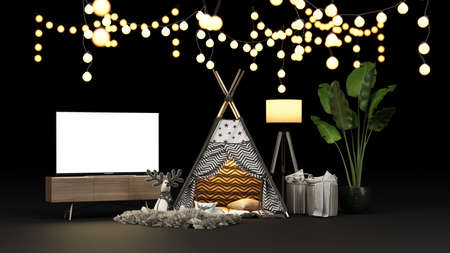 Camping tent and lighting with a TV screen to hold the desired content for home quarantine during covid-19 virus, stay at home. 3d render.