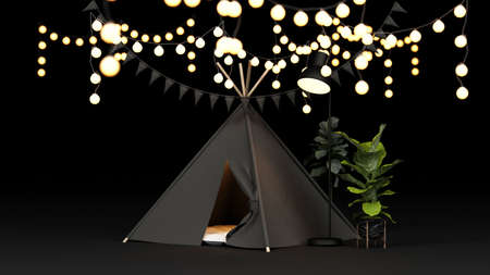 Camping tent and lighting at home quarantine during covid-19 virus, stay at home. 3d render. 免版税图像