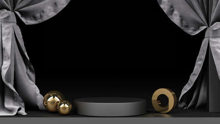 Geometric object Black with black and gold marble material and clear glass With a stand for product display grey cloth backdrop and black background 3d rendering
