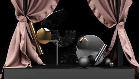 Geometric object Black with black and gold marble material and clear glass With a stand for product display Pink cloth backdrop and black background 3d rendering