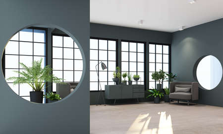Interior concept of memphis design, grey fabric Armchair and sofa set surrounding by green plant on black frame window and grey wall and sunlight 3d rendering 免版税图像