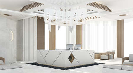 Mainhall reception with grey concrete counter and design ceiling decoration and wooden column , 3d rendering 免版税图像