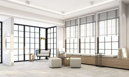 Living area in modern office have wooden texture bay windows seating and white wall decoration by geometric form and book shelf with concrete floor 3d rendering
