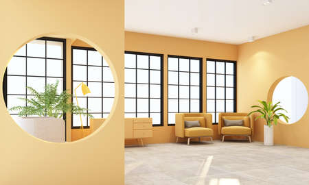 Interior concept of memphis design, yellow fabric Armchair and sofa set surrounding by green plant on black frame window and yellow wall and sunlight 3d rendering 免版税图像