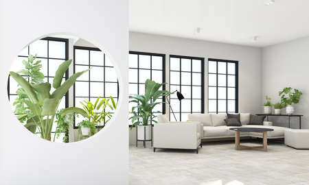 Interior concept of memphis design, grey fabric Armchair and sofa set surrounding by green plant on black frame window and sunlight 3d rendering 免版税图像