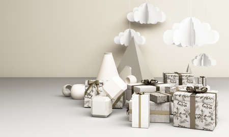 Merry Ð¡hristmas and Happy New Year. Abstract minimal design, geometric Christmas, gift box, Realistic Xmas Decorative design objects. Winter holiday background. 3d renderin g