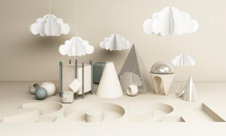 2021 geometric shape in white tone 3d rendering