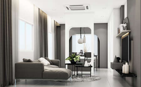 Living room with gray furniture and geometric form decorate built-in 3d rendering Stock Photo
