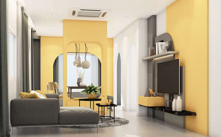 Living room with gray furniture and geometric form decorate built-in yellow colour 3d rendering