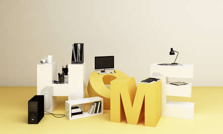 Working equipment and computor It is surrounded on the letters WOKR FORM HOME in yellow tones. 3d rendering