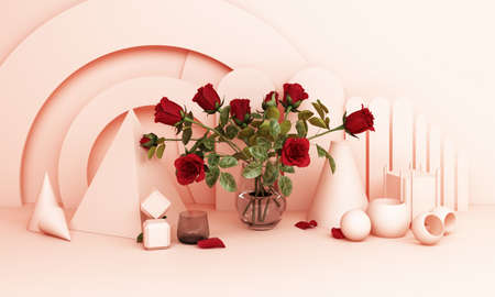 Red roses in a vase With a geometric background in pink tones 3d rendering