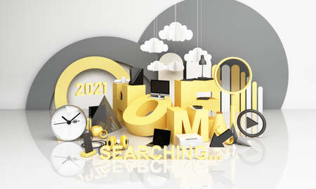 Information search bar Surrounded by electronics, watches, computers and phones with magnifying glass. On a geometric background In yellow and gray tones 3d render Stock Photo