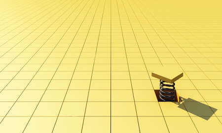 3D rendering abstract yellow geometric square background. Futuristic minimal yellow square pattern with soft light and shadows with one piece rolled up by a spring. 3d rendering