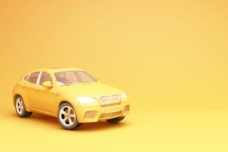 Yellow suv 3d rendering
