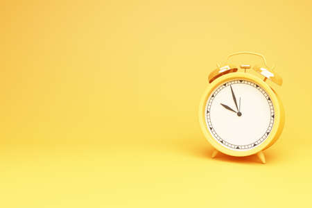 Yellow round table clock on a yellow background 3d rendering Stock Photo