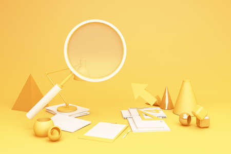 yellow magnifying glass and wokring table set 3d rendering