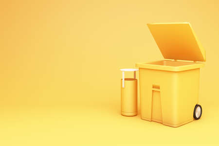 Yellow trash can open the lid 3d rendering