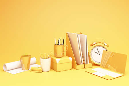 yellow laptop and wokring table set 3d rendering Stock Photo