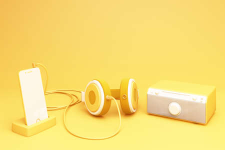 yellow smartphone with headphone and speaker 3d rendering